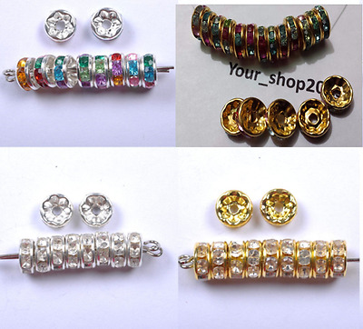 50-100 GRADE A RHINESTONE RONDELLE SPACER BEADS GOLD, SILVER, MIX 6,8,10mm • 1.99£