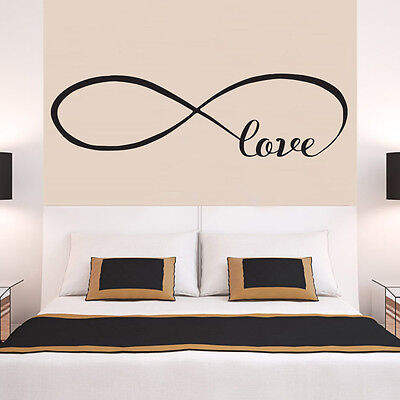 INFINITY LOVE Faithfulness Quote Wall Stickers Bedroom Removable Decals DIY • 10.99£