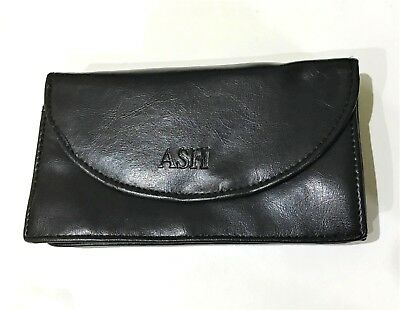 Large Black Tobacco Pouch Faux Leather 5 Compartments Magnetic Close Zip QUALITY • 5.50£