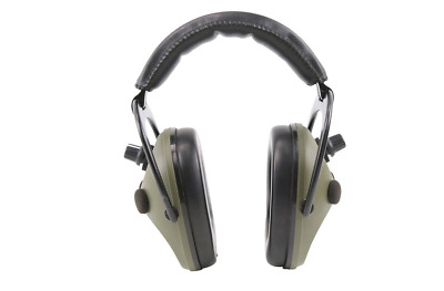 GREEN STEREO  Electronic EAR DEFENDERS Hunting Shooting HEARING PROTECTION Muffs • 32£