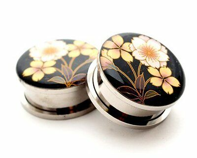 $8.49 • Buy Pair Of Screw On Flower Style 4 Picture Plugs Gauges 16g Thru 1 Inch