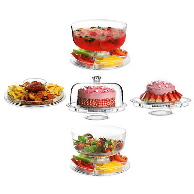 £13.99 • Buy 5 In 1 Multifunctional Modern Design Cake Stand & Dome Plastic Cover Salad Bowl