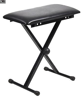 AU53.98 • Buy NJS Adjustable Piano Or Keyboard Stool Bench With X-Type Frame Black