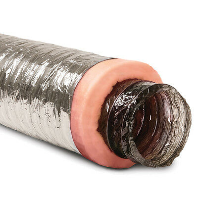 8-in X 25-Ft Insulated Flexible Round Flex Duct Tube R8 Heating/AC Vent Venting • 72.77$