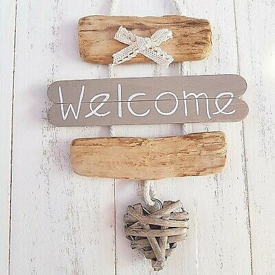 Chic Shabby Nautical Beach Driftwood Wooden Welcome Wicker Heart Plaque Sign • 9.99£