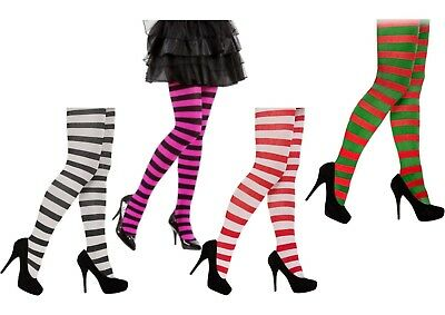 Stripe Stripey Tights Elf Miss Santa Red Green White Neon Purple Black Halloween • 3.49£