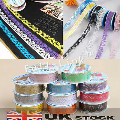 Decorative Lace Roll Washi Sticky Paper Masking Adhesive Tape Craft DIY UK Stock • 0.99£