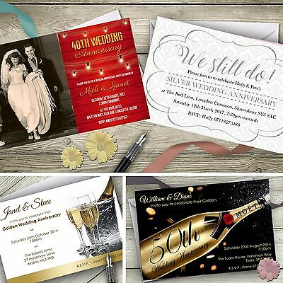 £11.99 • Buy Personalised Wedding Anniversary Invitations Silver Gold Ruby Invites