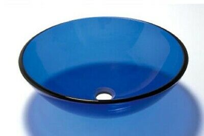 Bathroom Clear Blue Glass Basin Sink Cloakroom Counter Top Blue Round • 54.99£