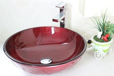 LUXURY BATHROOM CLOAKROOM COUNTER TOP RED ROUND GLASS BASIN SINK Mounting Ring • 59.99£