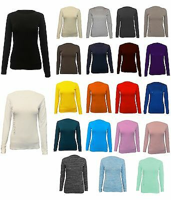 £3.25 • Buy Womens Long Sleeve Stretch Plain Round Scoop Neck T Shirt Top