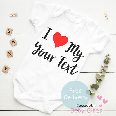 I Love My Your Text - Mummy/Nana Personalised Baby Vest Baby Clothes, Bodysuit • 5.99£