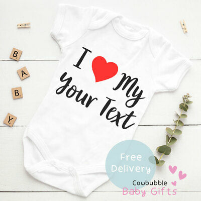 £5.95 • Buy I Love My Your Text - Mummy/Nana Personalised Baby Vest Baby Clothes, Bodysuit
