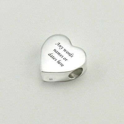 Sterling Silver Heart Bead, Personalised With Any Engraving. Silver Charm Bead. • 19.99£