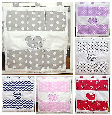 Baby's Comfort COT TIDY ORGANISER With HEARTS ( 12 NEWEST DESIGNS ) • 11.99£