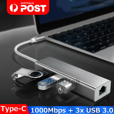 AU16.95 • Buy USB 3.1 Type C To HUB 3 Port With RJ45 Gigabit Ethernet Adapter 3.0 USB-C PC MAC