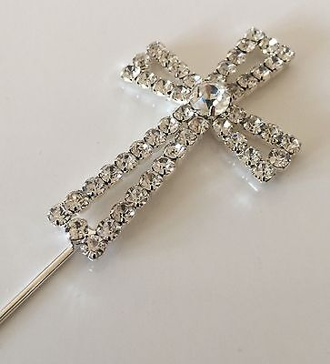 £6.99 • Buy DIAMANTE CROSS Cake Topper PICK COMMUNION CONFIRMATION SPARKLY BLING SHINEY
