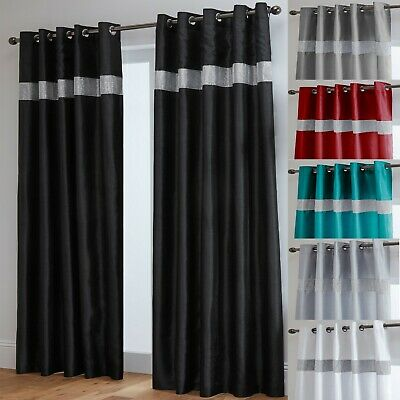 Diamante Curtains Pair Of Lined Faux Silk Ready Made Eyelet - Black Silver White • 43£