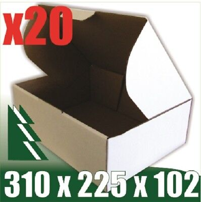 AU22.95 • Buy 20 X Bx2 White Cardboard Boxes Box 310 X 225 X 102 Mm