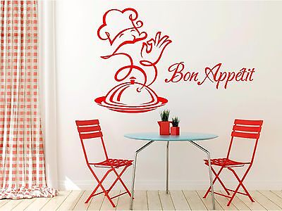 Bon Appetit Cafe Kitchen Chef Cook Wall Art Sticker Decal Mural Transfer • 7.99£