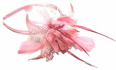 Pink Fascinator Chiffon Flower On Alice Hair Band With Feather Tendrils • 3.95£