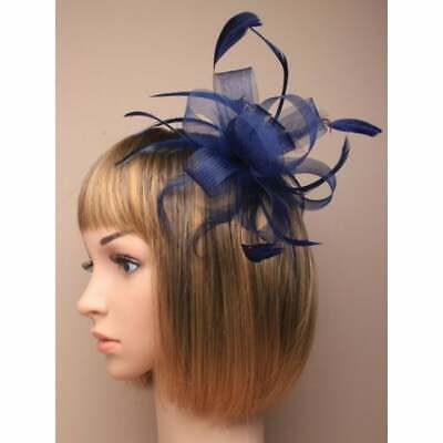 Navy Blue Fascinator With Sinamay Loops And Feather Tendrils Set On Hair Comb. • 5.95£