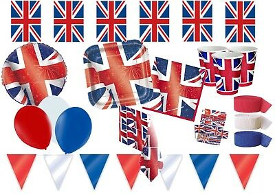 British Britain Union Jack Partyware Decorations Balloons Red White Blue • 5.99£