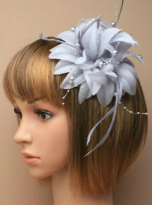 Silver Grey Beaded Feather Fascinator Clip Brooch Pin Hat Races Wedding Ascot 6 • 3.45£