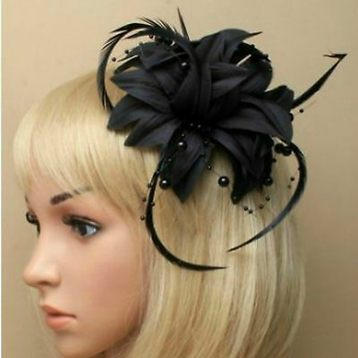 Black Beaded Feather Fascinator Clip Brooch Pin Hat Races Wedding Ascot 6 • 3.69£