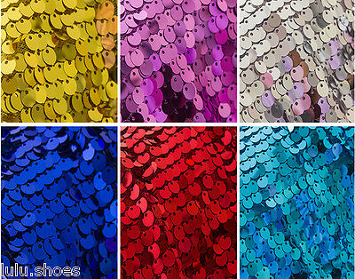 9mm SEQUIN Fabric Material, 1 Way Stretch /130cm Wide / Glitter Sequins Pink Red • 5.99£
