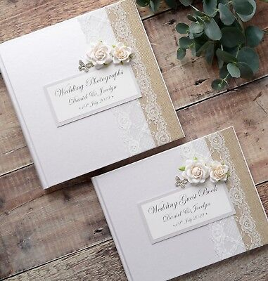 Luxury Personalised Wedding Guest Book & Album Set. Lace Rose & Butterfly Design • 50£