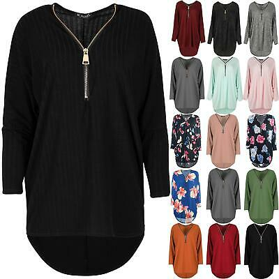 Womens Ribbed Knitted Top Jumper Ladies Golden Zip Up Baggy Oversize Swing Dress • 9.49£