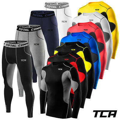 Mens Boys TCA Thermal Compression Base Layer Long Sleeve Top + Tights Gym Set • 24.99£