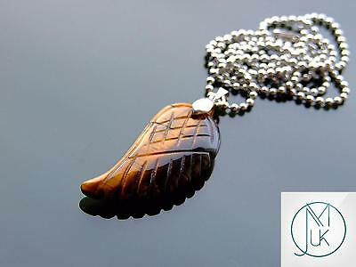 Tigers Eye Gemstone Angel Wing Pendant Necklace Natural Chakra Healing Stone • 7.50£