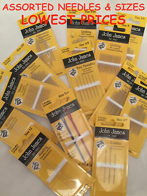 JOHN JAMES Hand Sewing Needles - ALL STYLES SIZES -SEWING CRAFT TAPESTRY BEADING • 2.95£