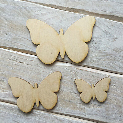Wooden BUTTERFLY Shape Craft Blank Embellishments BUTTERFLY 10 Pack • 2£