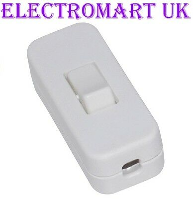 White In Line 2 Amp Switch 2 Or 3 Core Flex Cable Wire Table Floor Light Lamp • 2.98£