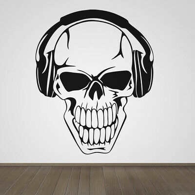 Skull Wearing Headphones Music Musical Vinyl Wall Art Sticker Decal • 8.50£