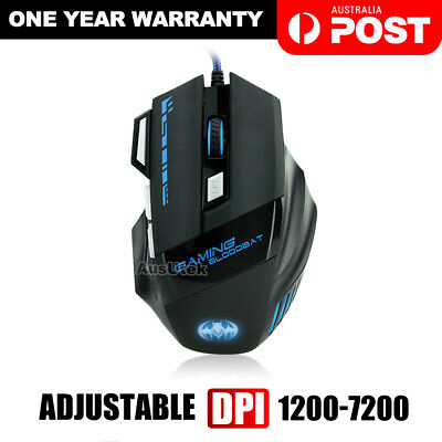 AU19.99 • Buy AU USB 6800DPI LED Wired Optical Backlight Gaming Mouse Support Pro 7 Button New
