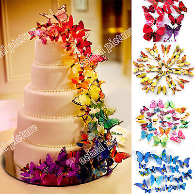 AU3.89 • Buy New 3D DIY 12PCS Multi-Color Butterfly Wall Sticker Home Wedding Room Art Decor