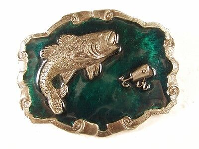 $ CDN28.81 • Buy Silvertone Green Big Mouth Bass Fishing Lure Belt Buckle Unbranded 32816