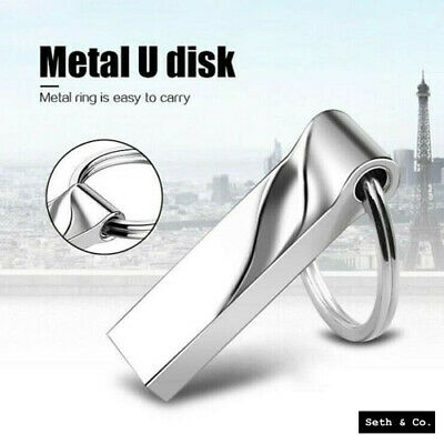32GB USB Memory Stick 3.0 Silver Chrome Metal Mini Flash Data Pen Drive Key Ring • 6.49£