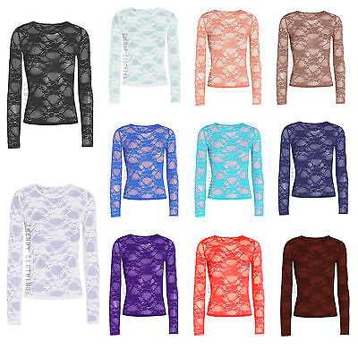 New Ladies Long Sleeve Sheer Floral Lace Womens Top T-Shirt Sizes 8-26 • 4.49£