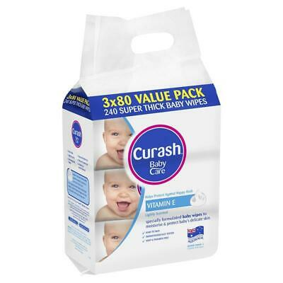 AU8.79 • Buy Curash Baby Wipes Original Vitamin E 3 X 80 Bulk Pack