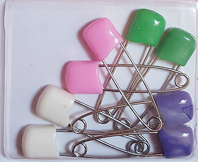 Pack Of 8 Nappy Pins Baby Diaper Pins Safety Lock Pins For Nappies Safety Pins • 2.25£