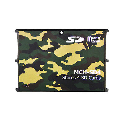 4 SD Holder Memory Card Protective Storage Case Write/Label Camouflage Holder • 4.99£