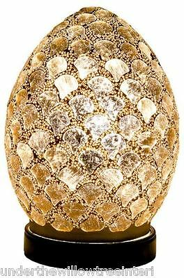 NEW Fabulous Mini Mosaic Glass Crackle Gold Shell Egg Table Lamp ,Desk ,Bedside • 21.99£