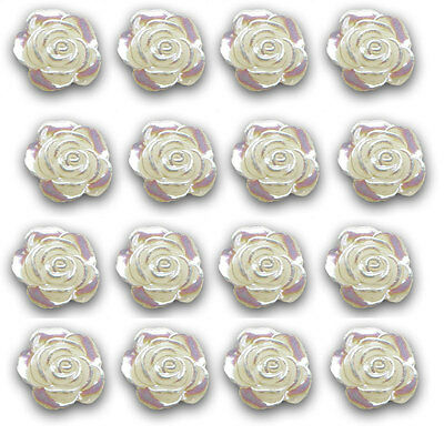 £4.95 • Buy 50 Pearlised Resin Rose  Cabochon Embellishments App 12mm For Weddings Or Craft
