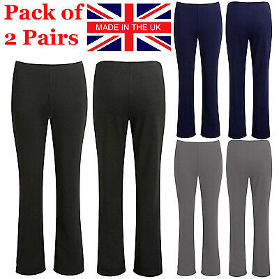 Ladies Pack Of 2 Bootleg Trousers Women Stretch Soft Ribbed Pull On Bottom Pants • 8.99£