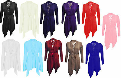 £4.99 • Buy New Ladies Womens Floral Lace Back Long Sleeve Flared Waterfall Cardigan UK